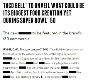 Taco Bell Press Release